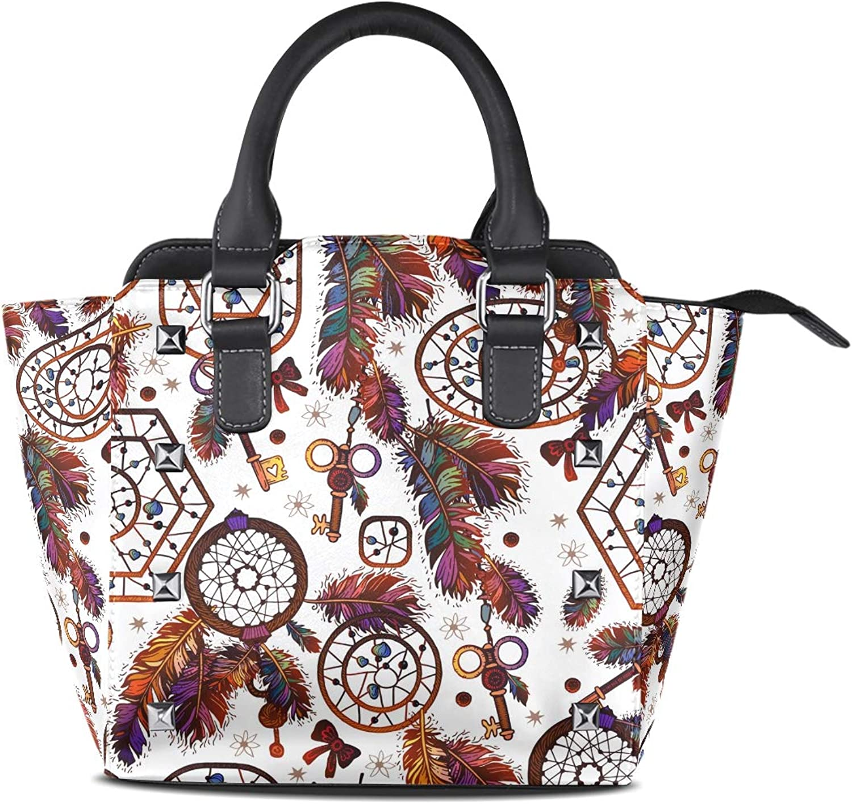 My Little Nest Women's Top Handle Satchel Handbag Tribal Boho Style Dream Catcher Ladies PU Leather Shoulder Bag Crossbody Bag