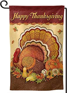 MSGUIDE Happy Thanksgiving Garden Flag 12 x 18 Inch, Vertical Double Sided Turkey and Pumpkin Decorative Welcome House Fla...