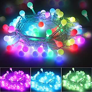 Multicolor Globe String Lights USB Plug, Waterproof 16.5ft 50 LED Fairy Lights with Remote Timer Decorative Christmas Ligh...