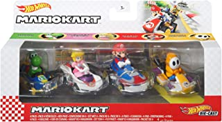 Hot Wheels Mario Kart coffret 4 mini-véhicules Yoshi, Peach, Mario et Maskass échelle 1:64, inspiré par les voitures du je...