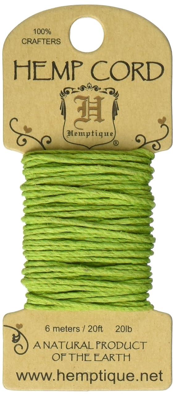 Hemp Cord 20# 20 Feet/Pkg-Lime Green