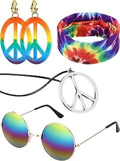 4 Pieces Hippie Costume Set Hippie Sunglasses Peace Sign Pendant Tie Dye Headband Bandana Peace Sign Earrings 60s or 70s Hippie Accessories