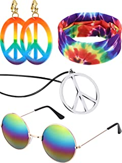 4 Pieces Hippie Costume Set Glasses Peace Sign Pendant Earring Tie Dye Headband