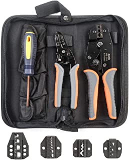 IWISS 5 interchangeable Jaws Crimping tool kit with FREE Wire Striper&Cutter for Insulated and...