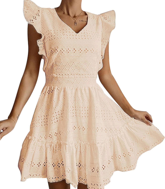GRACEVINES Womens Elegant Embroidery V Neck Cap Sleeves Summer Ruffle A-Line Mini Short Dress