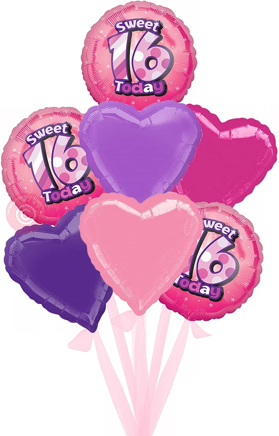 Num 16 Sweet 16   Inflated Birthday Helium Balloon Delivered in a Box  Bigger Bouquet  7 Balloons  Bloonaway