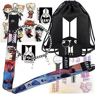BTS Gifts Set for Army - 1 BTS Drawstring Bag BackPack, 1 BTS Lanyard, 1 BTS Bracelet, 1 BTS Mouth Mask, 2 BTS Phone Finger Ring Stand, 2 BTS 3D Sticker, 1 BTS Keychain