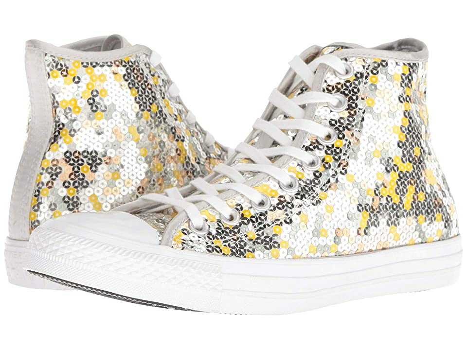 Converse Chuck Taylor All Star Sequined Hi (Pure Silver/Gold/White) Women
