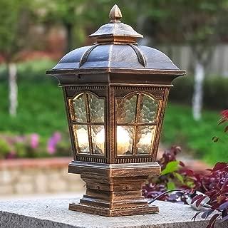CGJDZMD Pillar Lamp European-Style Simplicity Waterproof Antirust Aluminum Column Lamp Outdoor LED Post Light Garage Pavilion Courtyard Courtyard Lighting (Color : Bronze)