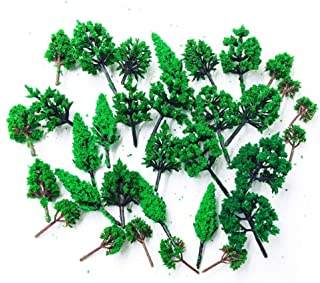Hipatoo 32 Pcs Mixed Model Trees Fake Trees Railways Scenery, Ho Scale Trees, Diorama Supplies,Architecture Trees for DIY Craft or Building Model, Woodland Scenics with No Stands (Green)