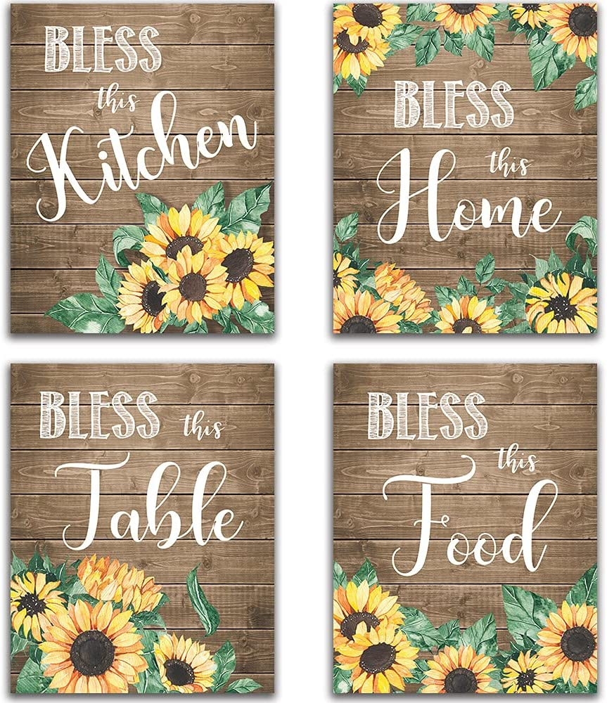 """Sunflower Wall Decor, Bless This Kitchen Home Table Food, Rustic Vintage Farmhouse Country Boho Wood Grain Inspirational Quotes Sayings Wall Art for Kitchen Dining Room Bar Decor Modern Signs Decorations Flower Sunflower Unframed 8""""x10"""""""