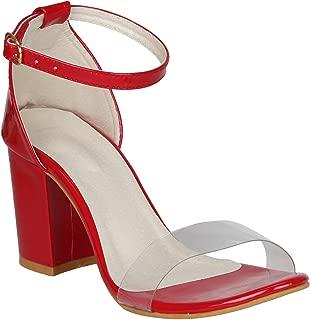 SHOPIEE Women's Ankle Strap Block Heels Sandal