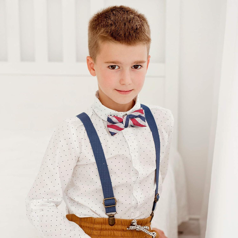 Child Kids Suspenders Bowtie Set - Adjustable Suspender Set for Boys and Girls-Blue