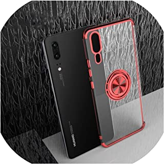 for Huawei P30 Pro Mate 30 20 P20 Lite Nova 5T 4e 3e Y9 Y7 Y5 Y6 2019 for Honor V20 V10ケースフィンガーリングカバー用の電気メッキソフトケース,for Huawei P20 Lite,Red
