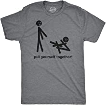Mens Pull Yourself Together Funny Self Mocking Stick Figure T Shirt