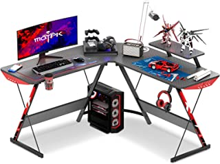 """MOTPK L Shaped Gaming Desk 51"""" L Shaped Desk, Real Carbon Fiber Coated, Gaming Desk Table with..."""