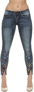 Women's Flower Embroidery, Tight Slim Fitting, Junior Sizes, Dark Blue Wash