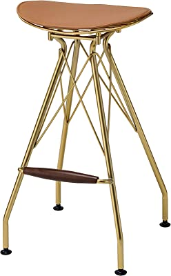 Acme Furniture Dragea Bar Stool (Set-2) in Whiskey PU & Gold