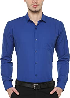 BEING FAB Royal Blue Solid Slim Fit Casual Shirt…