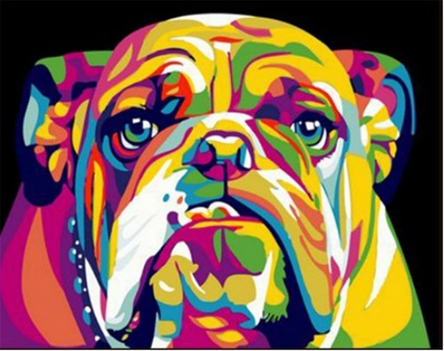 YEESAM Art New DIY Paint by Number Kits for Adults Kids Beginner - Colorful Dog Head 16x20 inch Linen Canvas - Stress Less Number Painting Gifts (with Frame)