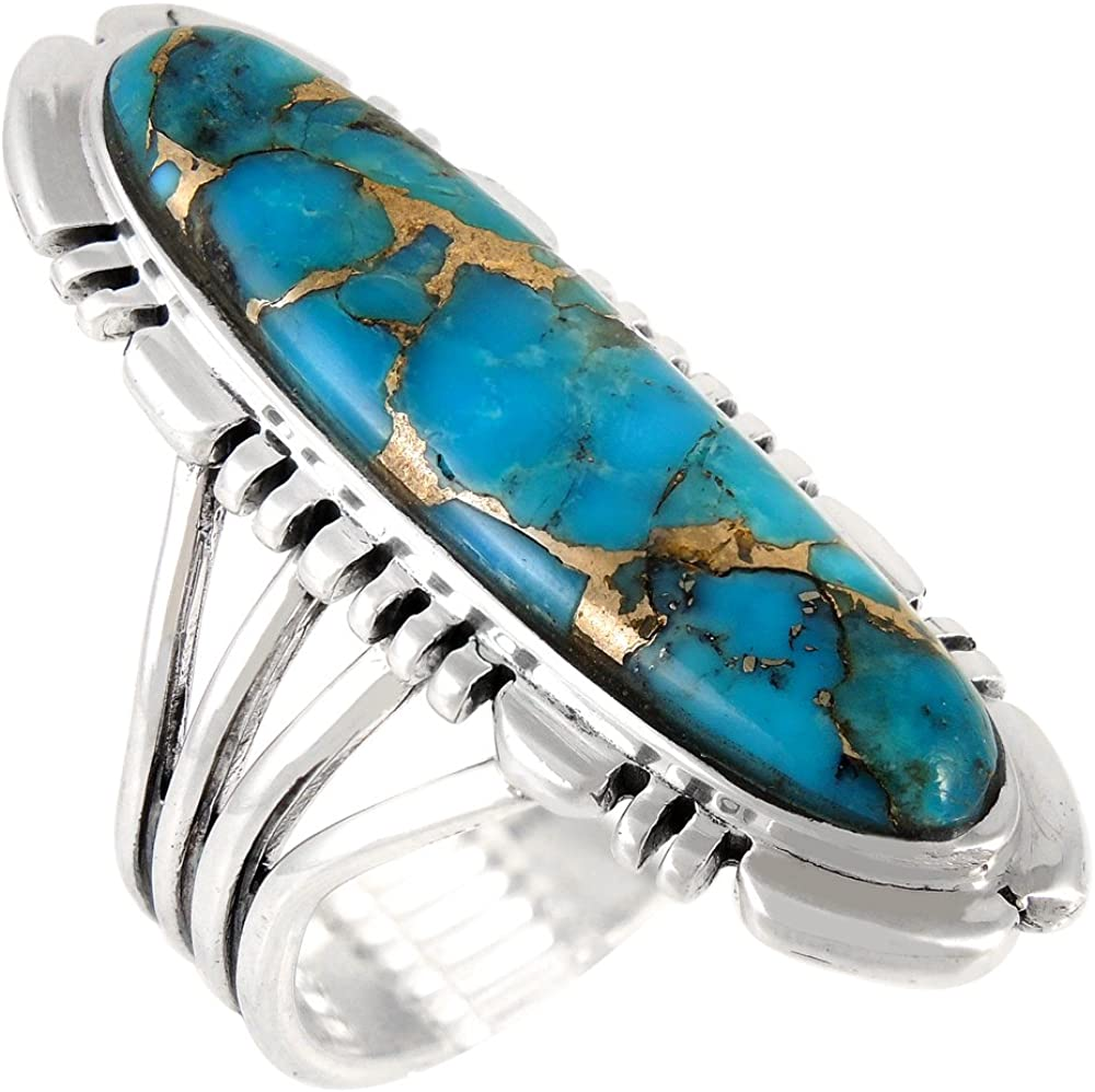 natural stone ring sterling silver large turquoise ring ring size 8 Turquoise sterling silver  ring ring size 8