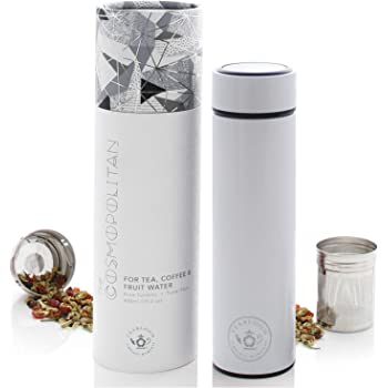 Teabloom Borraccia Termica Multiuso - 480 ml/Bottiglia per Acqua in Metallo Spazzolato - Thermos per Tè - Bottiglia da Viaggio - Borraccia per Caffè Freddo - Disponibile in 5 Colori