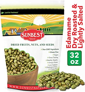 Sunbest Edamame, Roasted & Lightly Salted Green Soybeans in Resealable Bag (Edamame, 2 Lb)