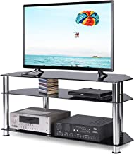 TAVR Tempered Glass Corner TV Stand Cable Management Suit for 32 35 37 40 43 45 47 50 55 inch Plasma LCD LED OLED Flat or Curved Screen TVs,3-Tier Gaming Consoles Media Component,Chrome Legs