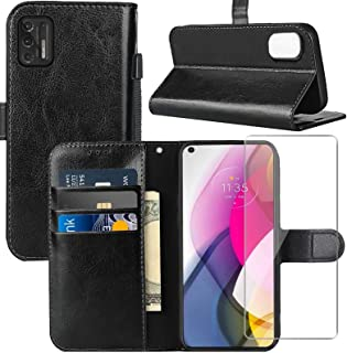 for Moto G Stylus 2021 Case,Motorola G Stylus 2021 Wallet Case, with Screen Protector,PU Leather Wrist Strap Card Slots Sh...