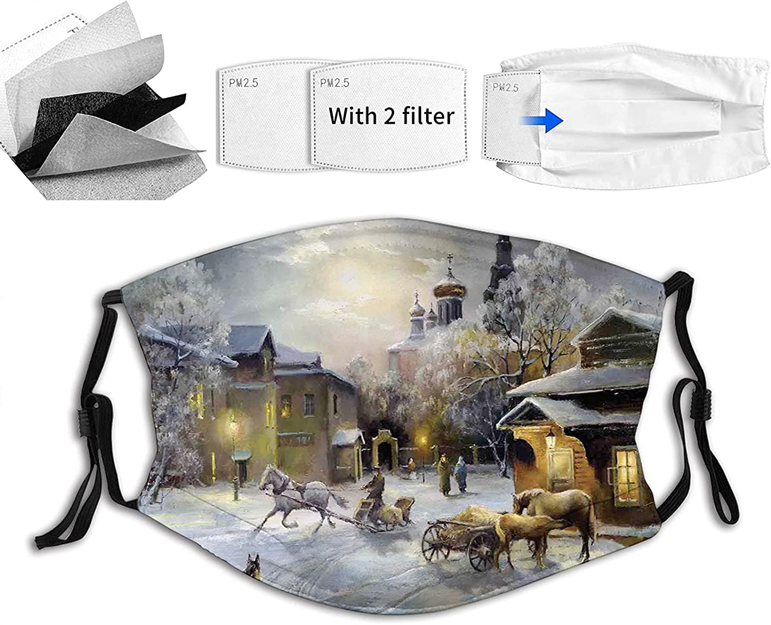 Comfortable Printed Max 77% OFF outlet mask Winter Landscape of Town Western a at N