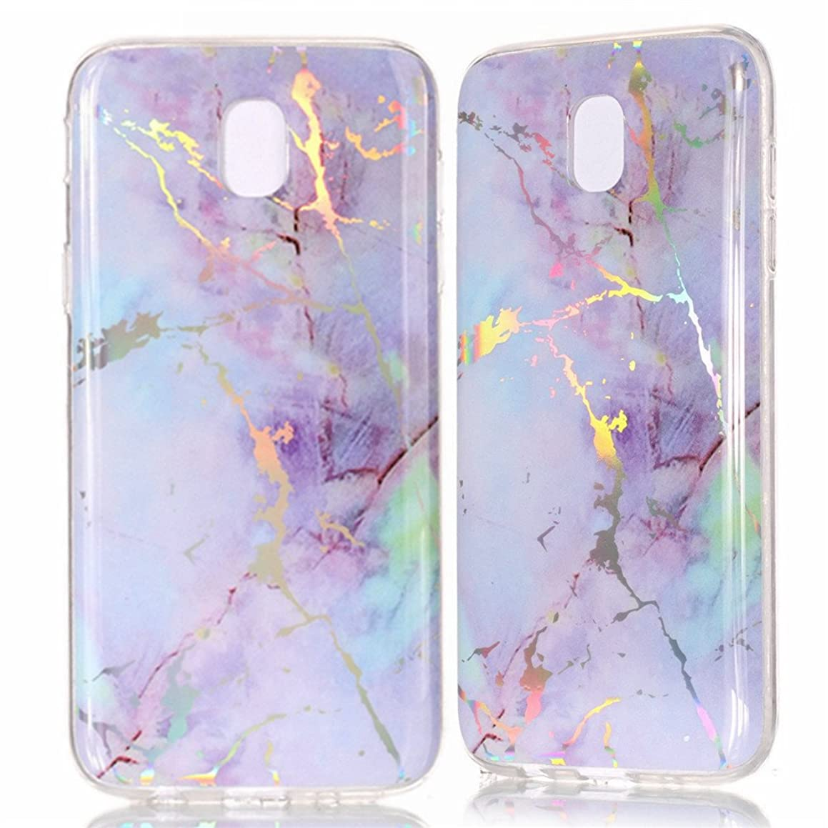 IVY Galaxy J7 Pro (7) Marble Case with Colour Electroplating and TPU Cover Protective Shell For Samsung Galaxy J7 Pro SM-J730 2017 - Purple