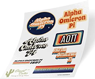 Alpha Omicron Pi 70's Themed Sticker Sheet Decal Laptop Water Bottle Car AOII (70's Sheet)