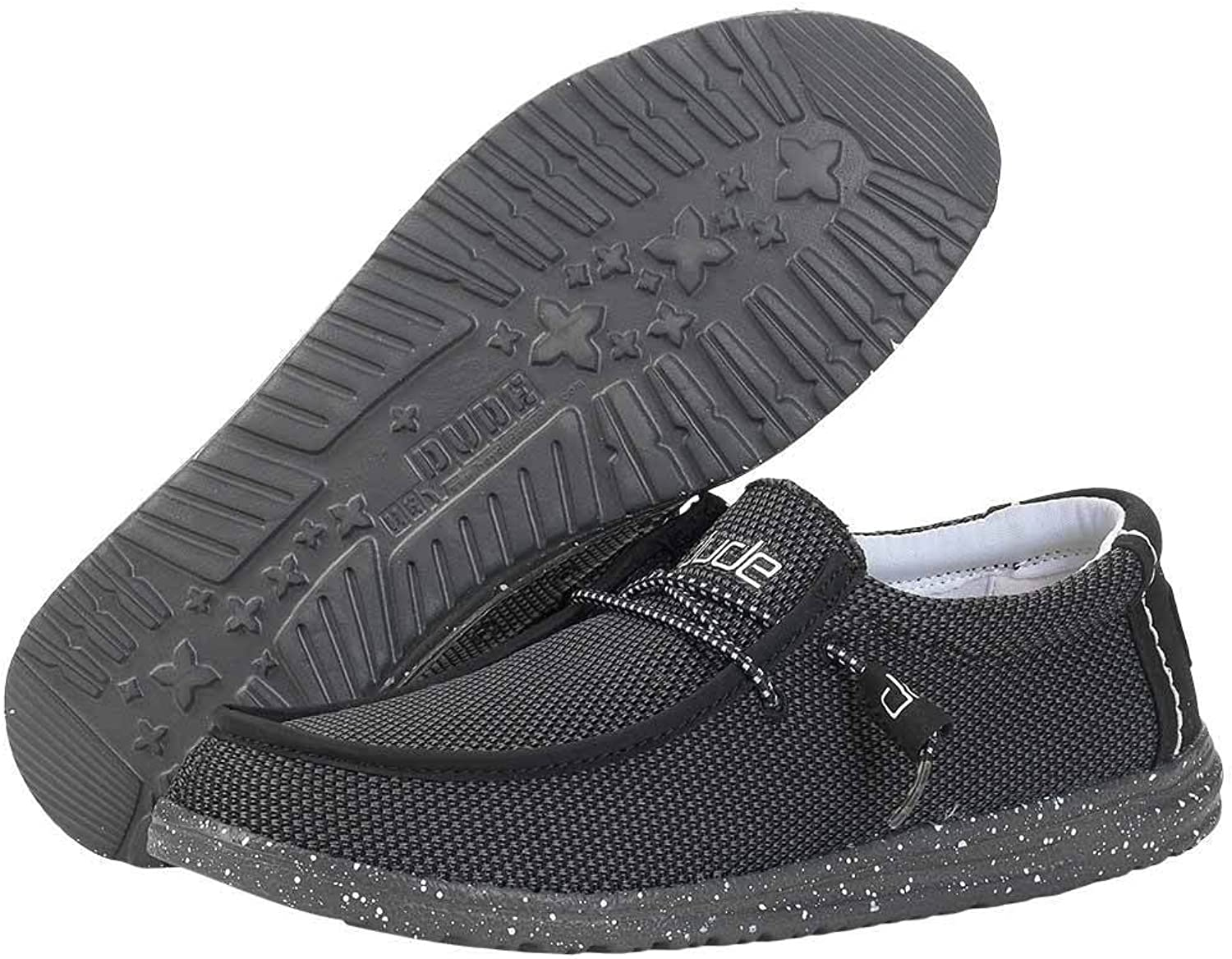 HEY DUDE WALLY SOX KNIT CASUAL LACE UP SHOES Black 7