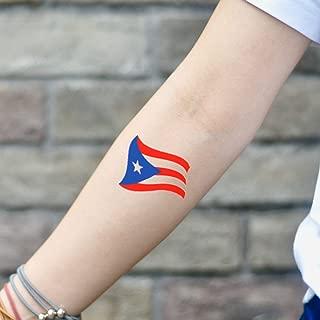 Puerto Rican Island Flag Temporary Tattoo Sticker (Set of 2) - www.ohmytat.com