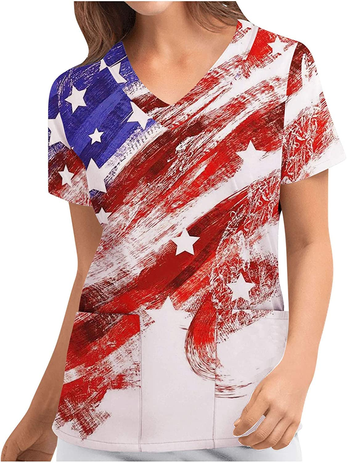 Aukbays Workwear for Women Independence Day US Flag Print Graphic Tees Short Sleeve Tops T-Shirts O Neck Casual Shirt