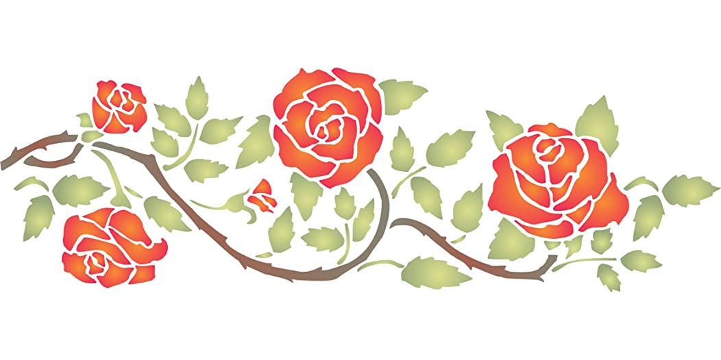 "Rose Border Stencil - (size 14.5""w x 4.5""h) Reusable Wall Stencils for Painting - Best Quality Wall Border Flower Stencil Rambling Rose - Use on Walls, Floors, Fabrics, Glass, Wood and More…"