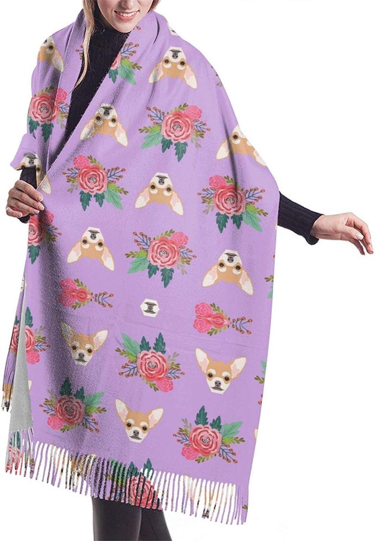 Womens Soft Cashmere Scarf,Floral Chihuhua Dog Shawl Scarf,Premium Large Pashmina,Warm Wrap Cape Solid Shawl Elegant Wrap