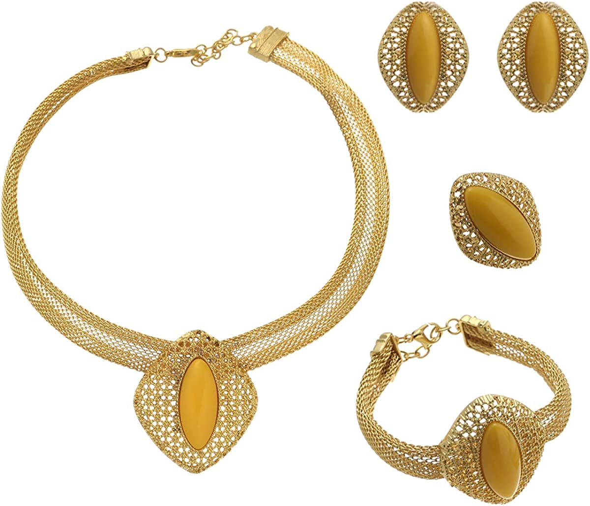African Gold Color Bridal Wedding Jewelry Sets for Women Dubai Necklace Bracelet Earrings Ring Jewellery Set