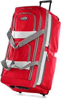 Olympia 8 Pocket Rolling Duffel Bag, Red, 22 inch
