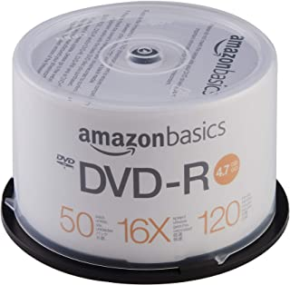 AmazonBasics 4.7 GB blank 16x DVD+R - 50 Pack Spindle (Renewed)