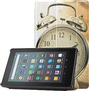 Etui Kindle Old Retro budzik Kindle Fire Case dla dzieci do tabletów Fire 7 (9. generacji, modele z 2019) lekkie z automat...