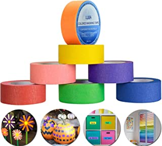 Colored Masking Tape, LLXIA Rainbow Labeling Tape 22 Yards Graphic Art Tape Rolls for Crafts DIY, Home Decoration, Office Supplies - 7 Different Color