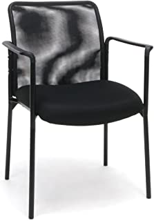 OFM Essentials Collection Mesh Back Upholstered Side Chair with Arms, Black