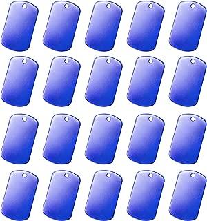 Bulk Anodized Aluminium Metal Military GI Dog Tags, Blue, 50 pc