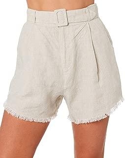 The Hidden Way Women's Pippa High Waisted Linen Short Linen Natural