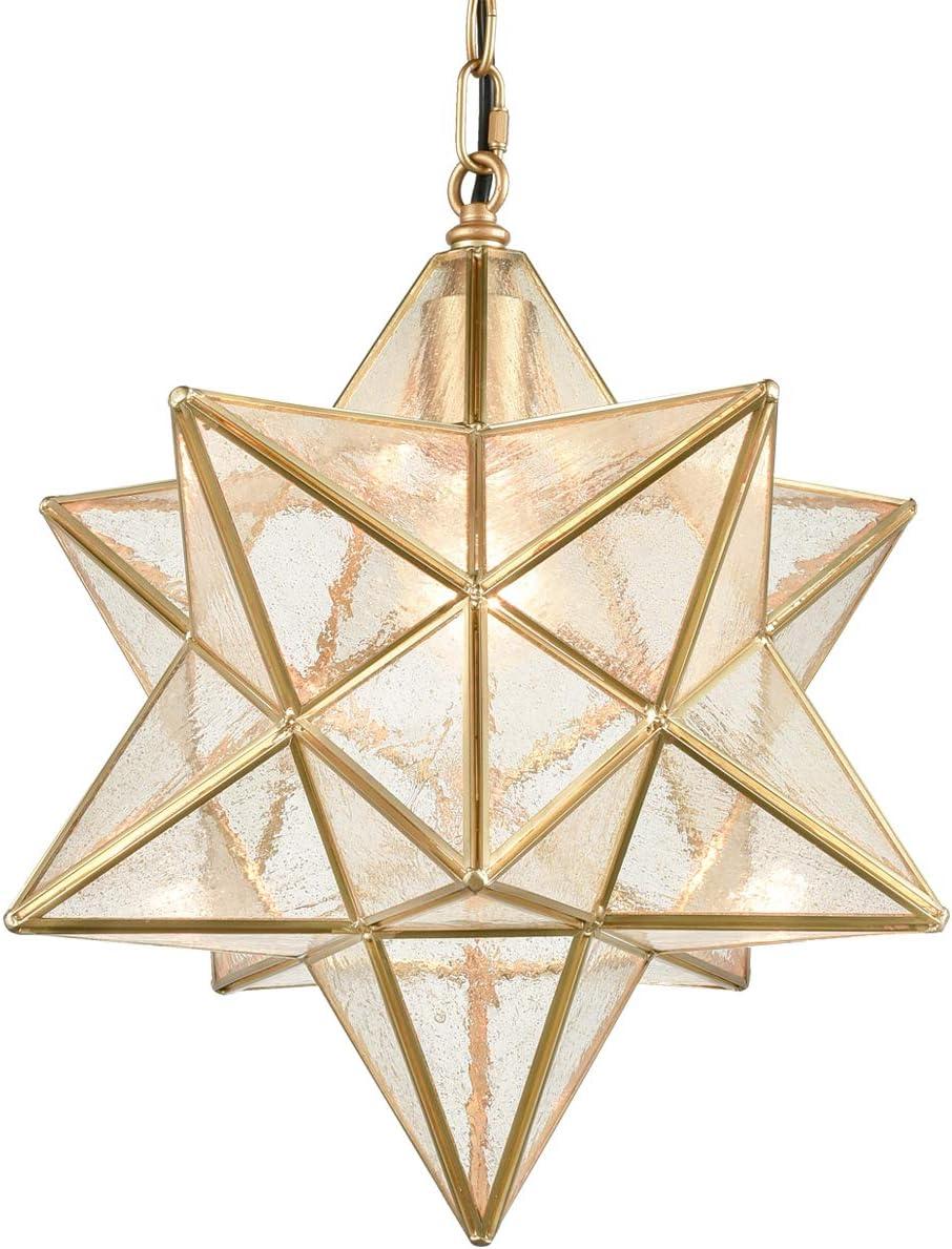 DAYCENT Moravian Star Light Fixture Modern Brass Seeded Glass Pendant Lights, 15-inch