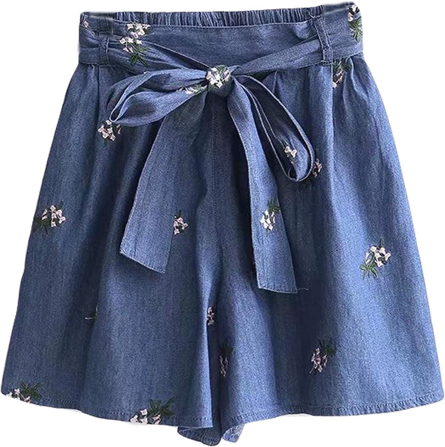 Yimoon Women's Elastic Waist Bowknot Tied Culottes Wide Leg Denim Shorts