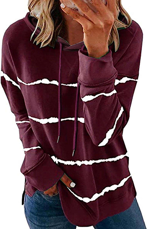 Womens Long Sleeve Tops,Women's Fashion Casual Stripe Print Long Sleeve Loose Pullover T Shirt Tunic Tops