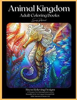 Animal Kingdom Adult Coloring Books: Detailed Drawings for Adults; Fun Creative Arts & Craft Activity, Zendoodle, Relaxing...