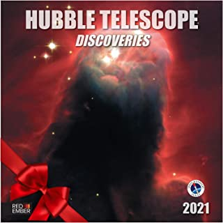 """Hubble Telescope Discoveries - 2021 Wall Calendars by Red Ember Press - 12"""" x 24"""" When Open - Thick & Sturdy Paper - Expan..."""